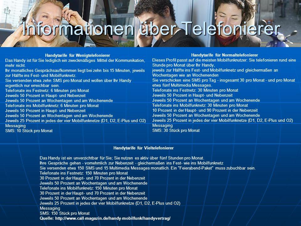 Informationen über Telefonierer