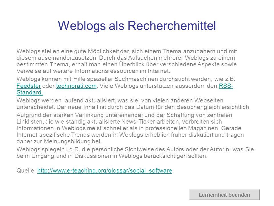 Weblogs als Recherchemittel