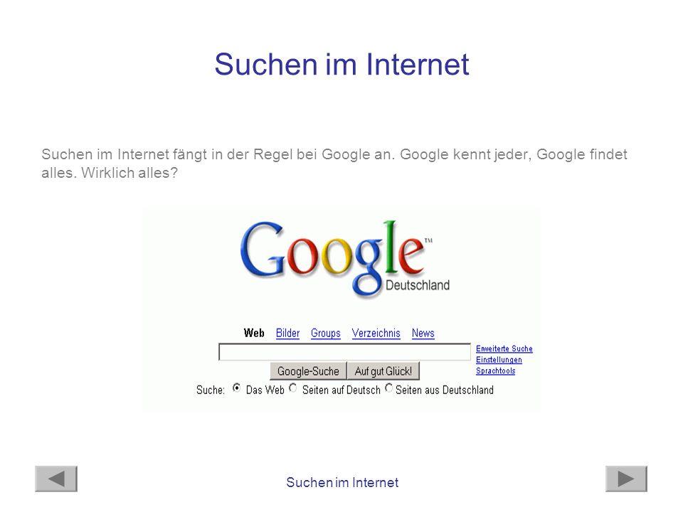 Suchen im Internet Suchen im Internet fängt in der Regel bei Google an. Google kennt jeder, Google findet alles. Wirklich alles