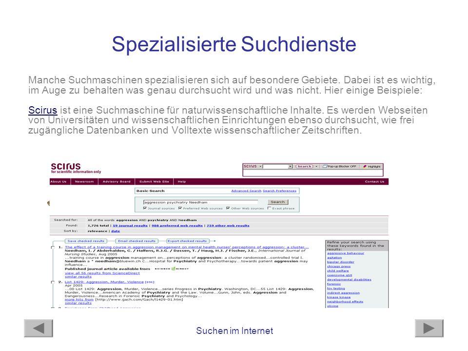 Spezialisierte Suchdienste