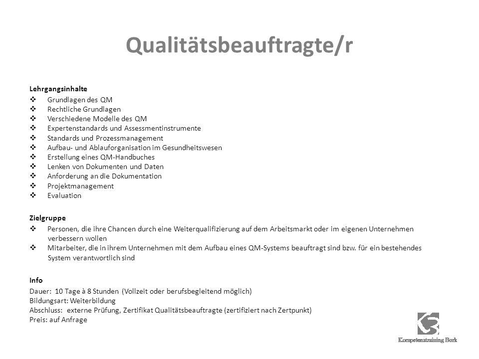Qualitätsbeauftragte/r