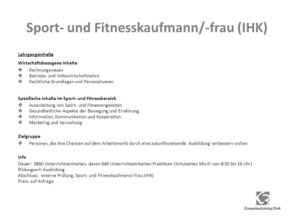 Sport- und Fitnesskaufmann/-frau (IHK)