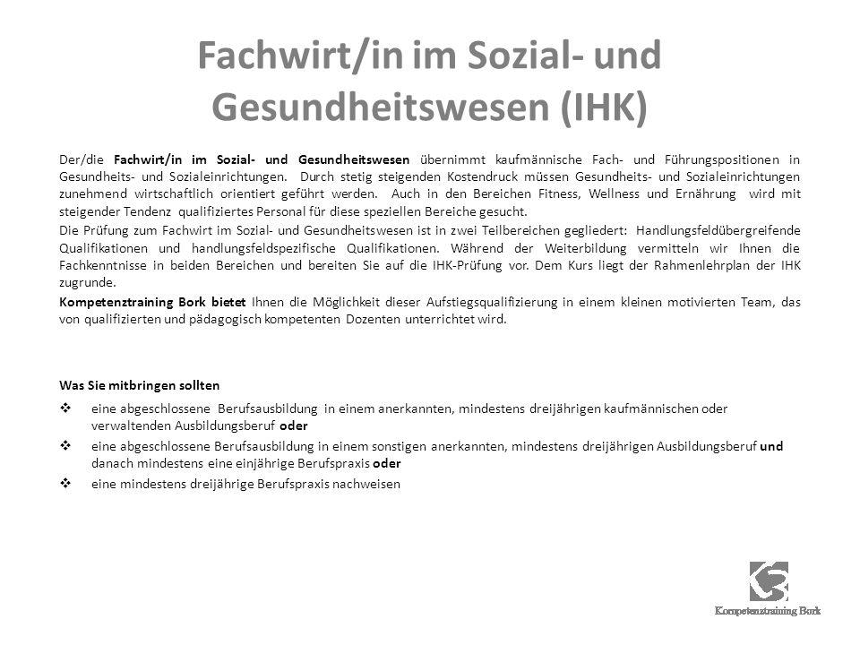 Fachwirt/in im Sozial- und Gesundheitswesen (IHK)