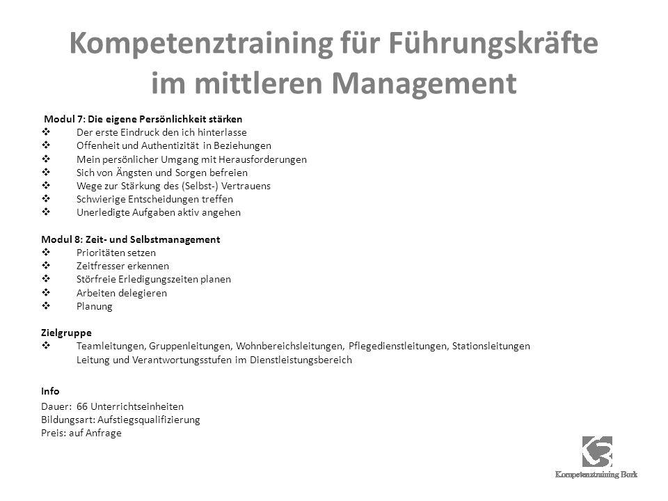 Kompetenztraining für Führungskräfte im mittleren Management