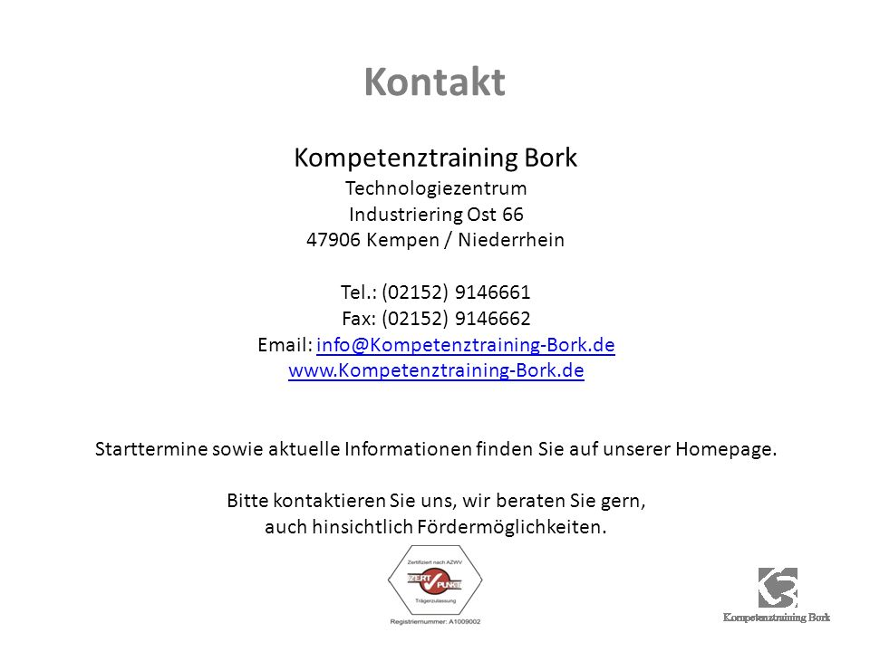 Kontakt Kompetenztraining Bork Technologiezentrum Industriering Ost 66