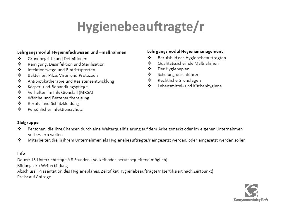 Hygienebeauftragte/r