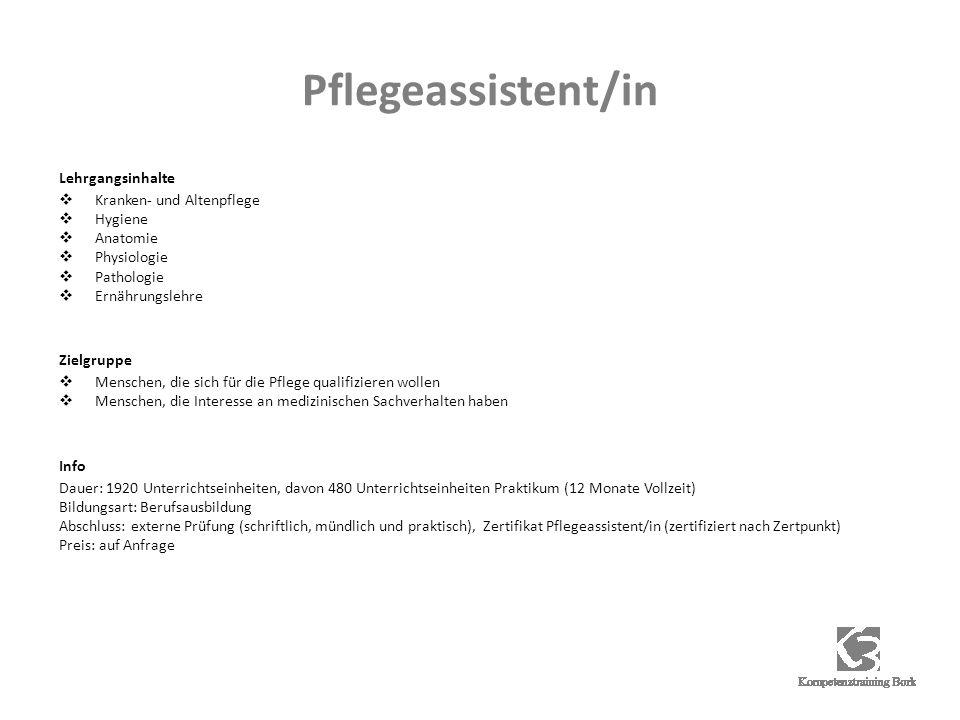 Pflegeassistent/in Lehrgangsinhalte Kranken- und Altenpflege Hygiene