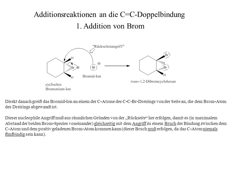 Additionsreaktionen an die C=C-Doppelbindung 1. Addition von Brom