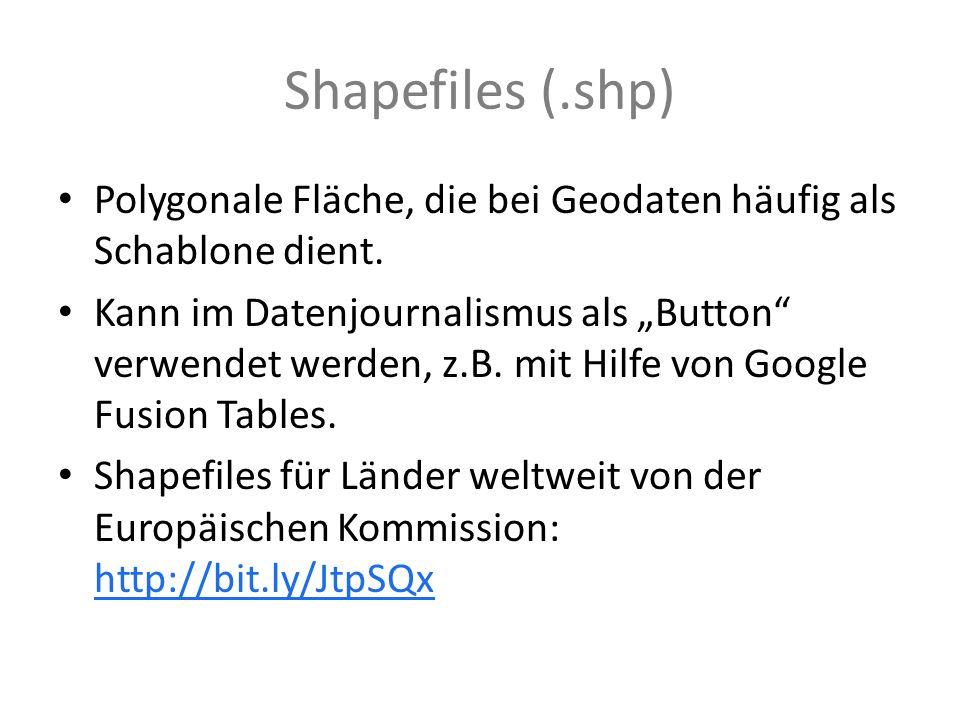 Shapefiles (.shp) Polygonale Fläche, die bei Geodaten häufig als Schablone dient.