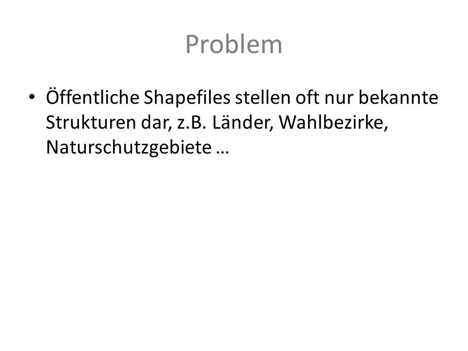 Problem Öffentliche Shapefiles stellen oft nur bekannte Strukturen dar, z.B.