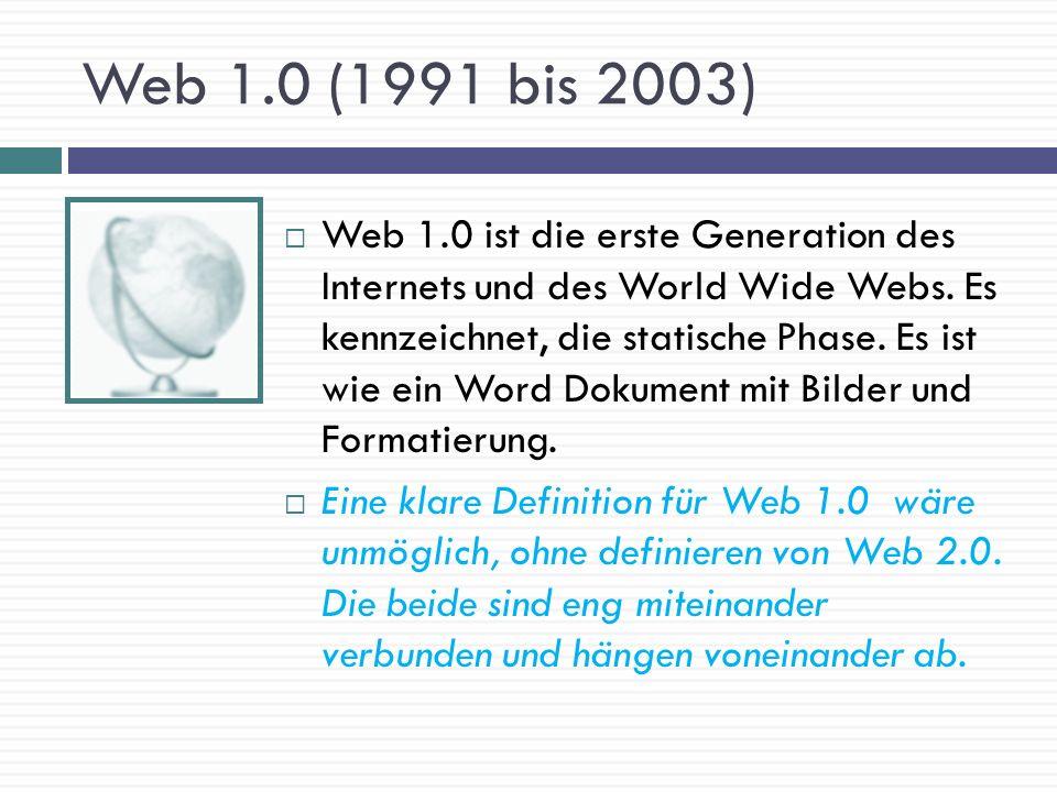 Web 1.0 (1991 bis 2003)