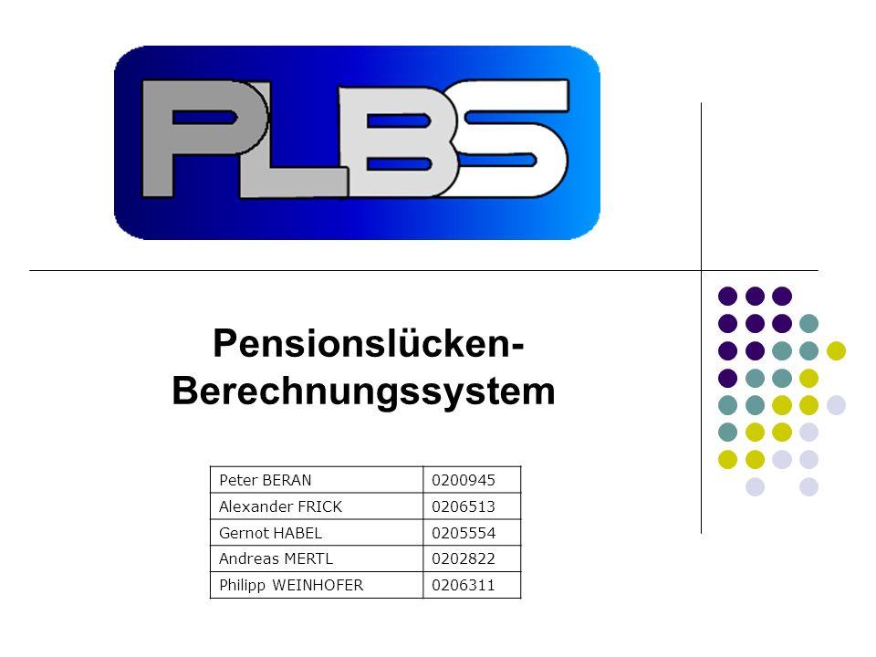 Pensionslücken- Berechnungssystem