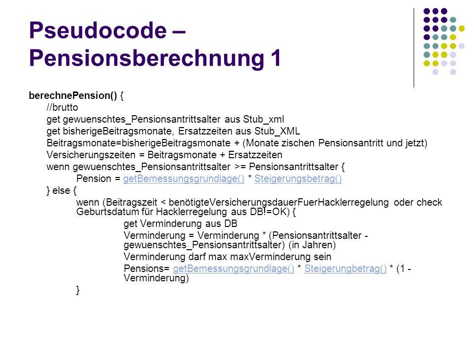 Pseudocode – Pensionsberechnung 1