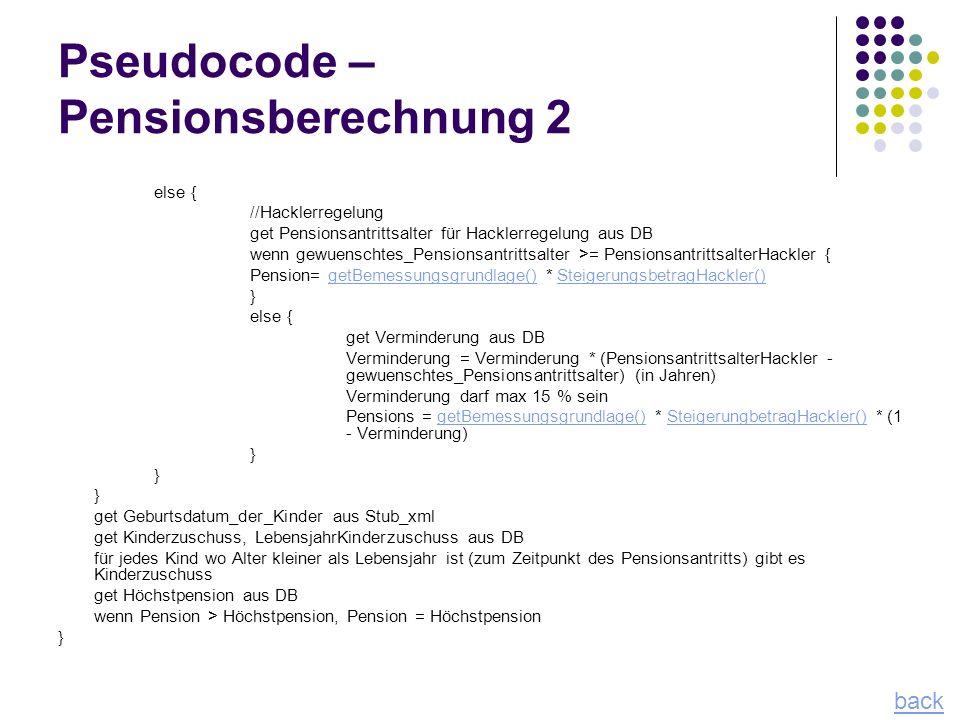 Pseudocode – Pensionsberechnung 2