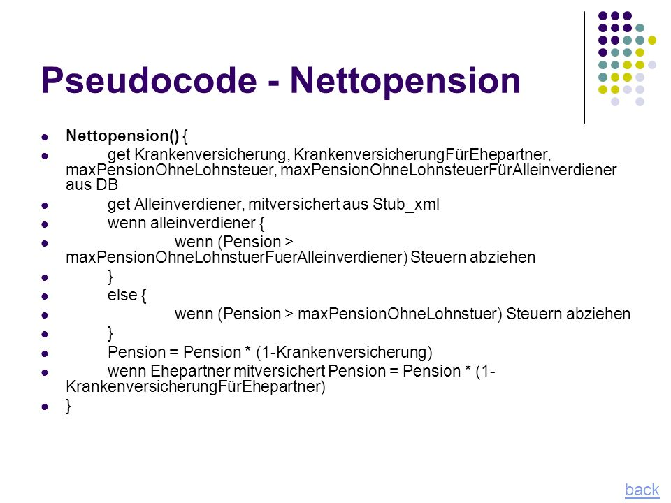 Pseudocode - Nettopension