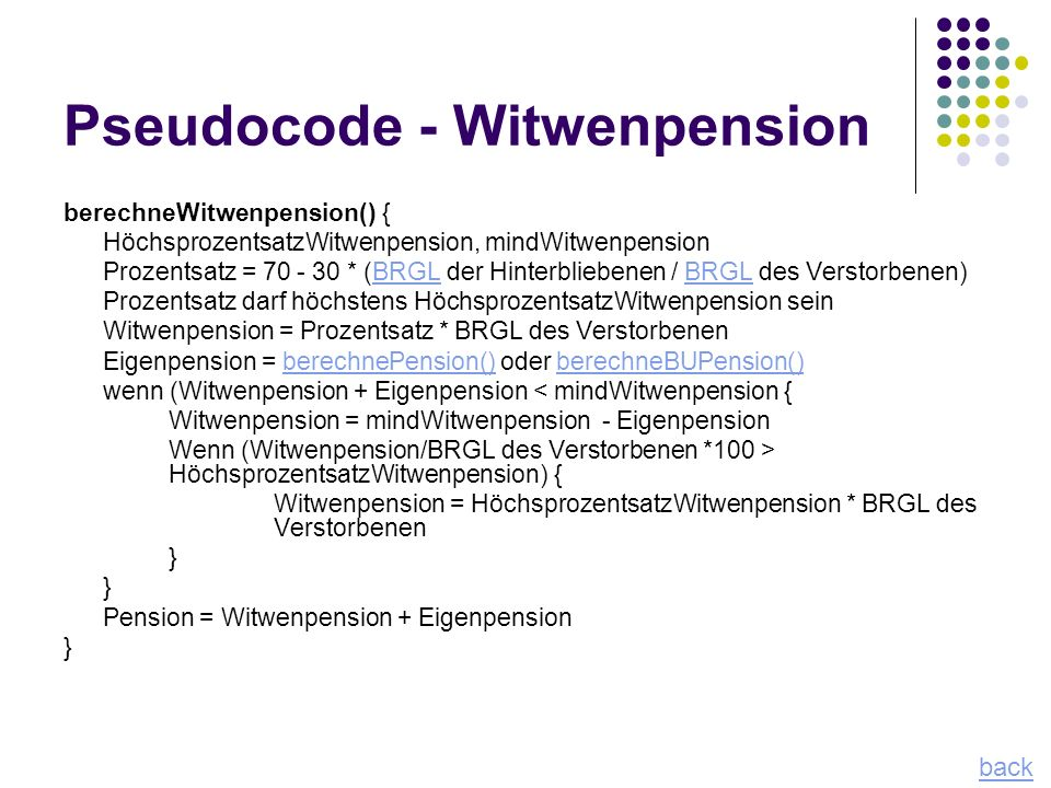 Pseudocode - Witwenpension