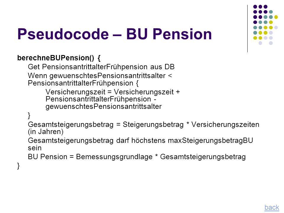 Pseudocode – BU Pension
