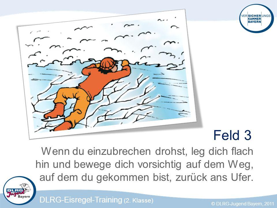 Feld 3 Wenn du einzubrechen drohst, leg dich flach hin und bewege dich vorsichtig auf dem Weg, auf dem du gekommen bist, zurück ans Ufer.