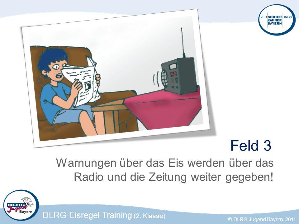 Feld 3 Warnungen über das Eis werden über das Radio und die Zeitung weiter gegeben!