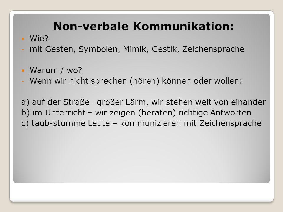 Non-verbale Kommunikation:
