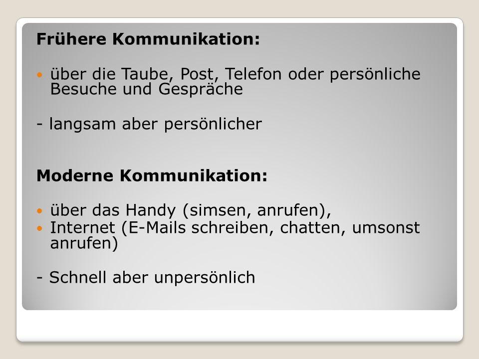 Frühere Kommunikation: