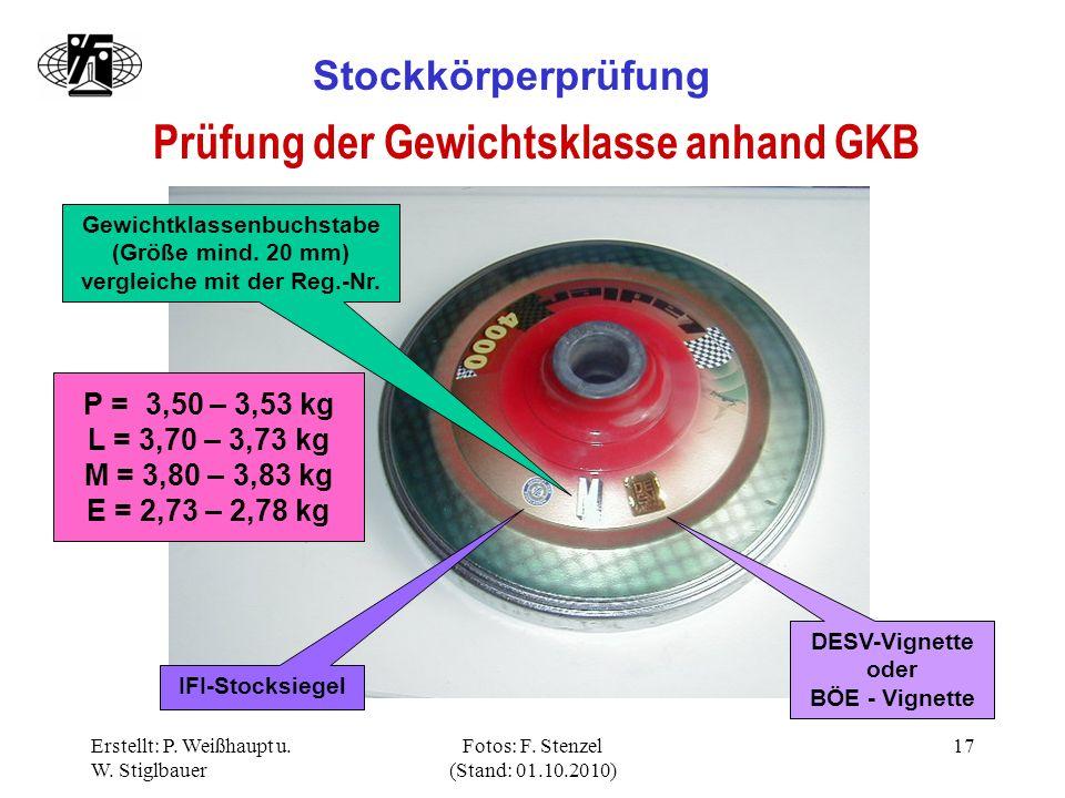 Prüfung der Gewichtsklasse anhand GKB