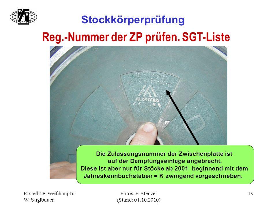 Reg.-Nummer der ZP prüfen. SGT-Liste