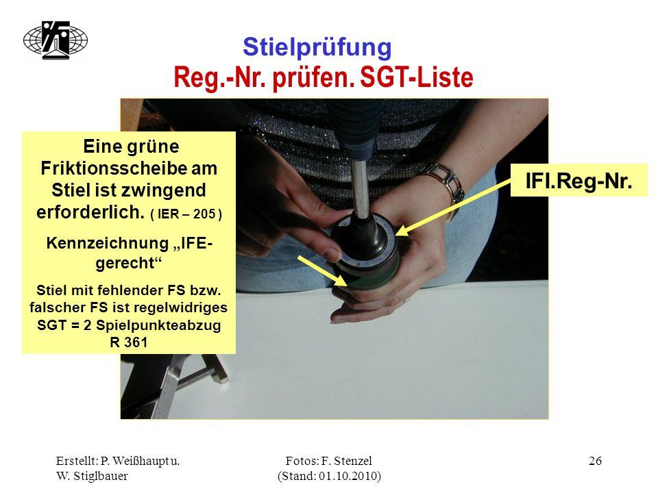 """Reg.-Nr. prüfen. SGT-Liste Kennzeichnung """"IFE-gerecht"""
