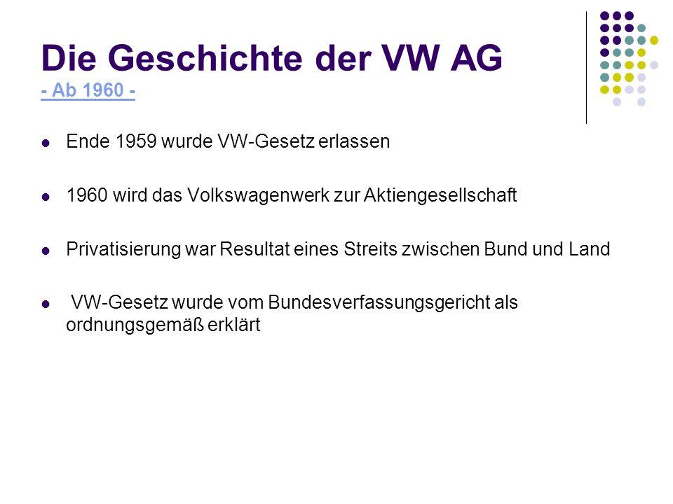 Die Geschichte der VW AG - Ab 1960 -