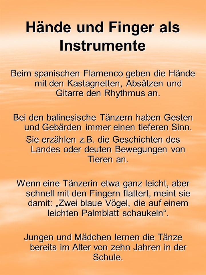 Hände und Finger als Instrumente