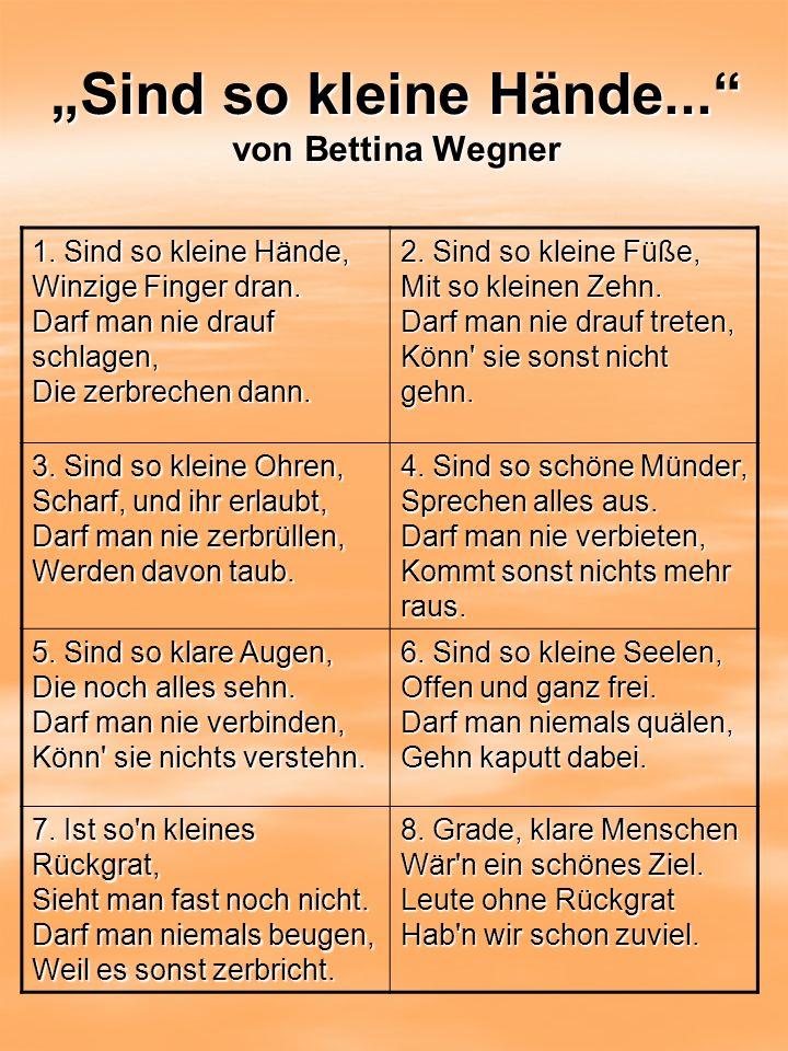 """""""Sind so kleine Hände... von Bettina Wegner"""