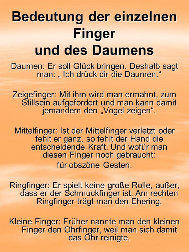Bedeutung der einzelnen Finger und des Daumens