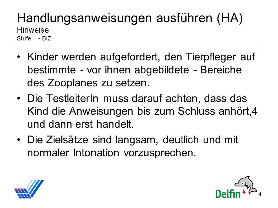 Handlungsanweisungen ausführen (HA) Hinweise Stufe 1 - BiZ