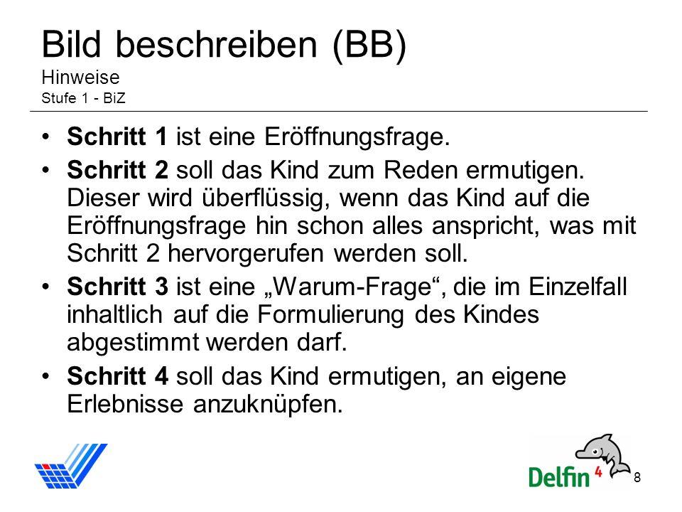 Bild beschreiben (BB) Hinweise Stufe 1 - BiZ