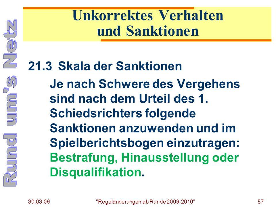 Unkorrektes Verhalten und Sanktionen