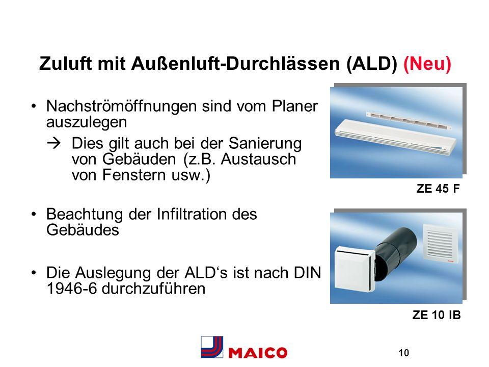 Zuluft mit Außenluft-Durchlässen (ALD) (Neu)