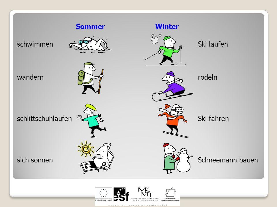 Sommer Winter schwimmen. wandern. schlittschuhlaufen. sich sonnen. Ski laufen.