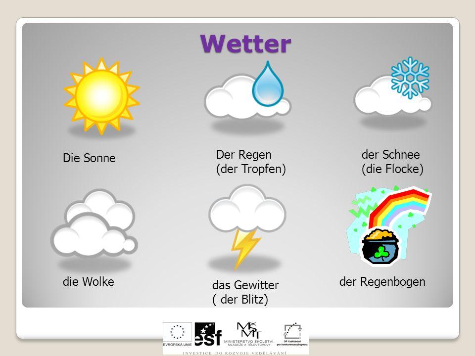 Wetter Der Regen (der Tropfen) der Schnee (die Flocke) Die Sonne