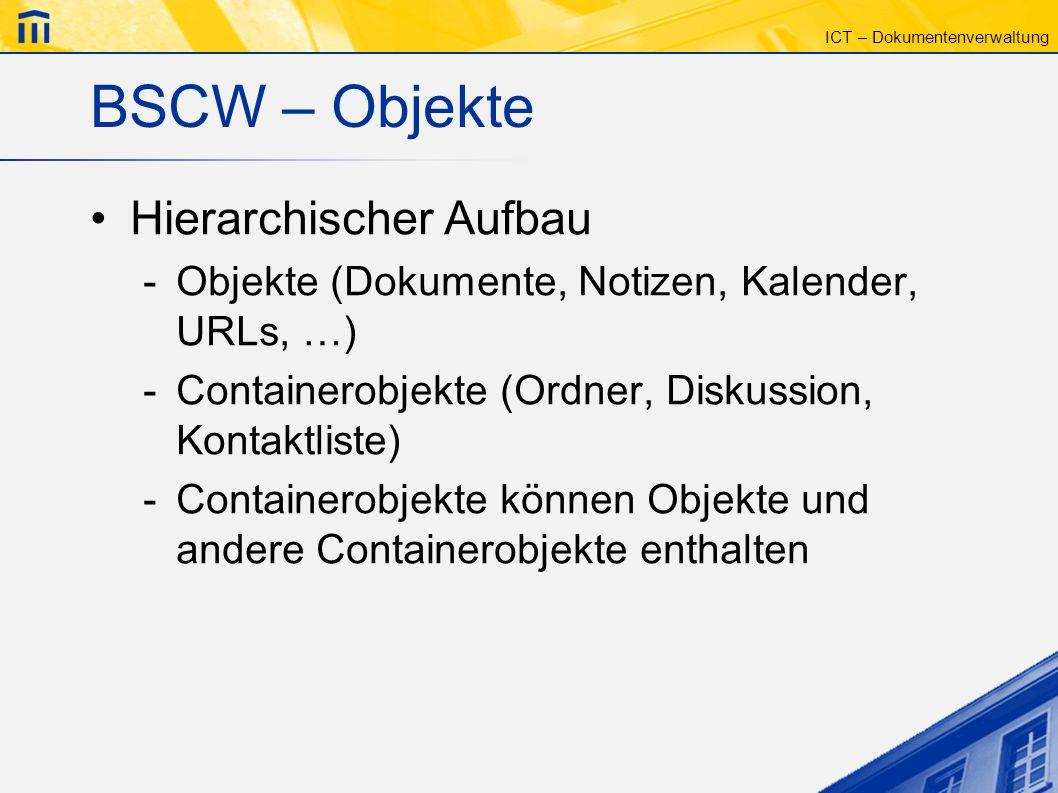 BSCW – Objekte Hierarchischer Aufbau