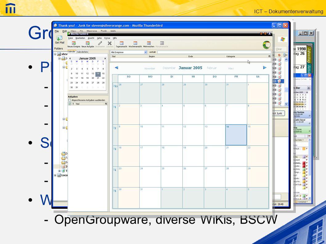 Groupware – Beispiele PIM (Personal Information Manager)