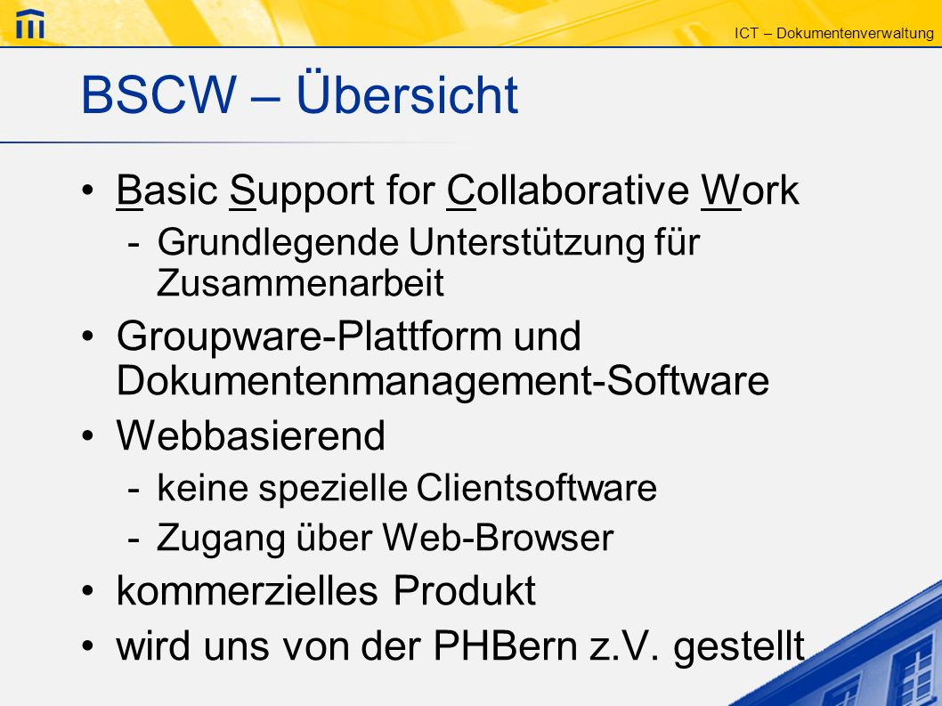 BSCW – Übersicht Basic Support for Collaborative Work