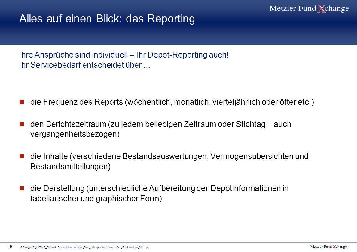 Alles auf einen Blick: das Reporting