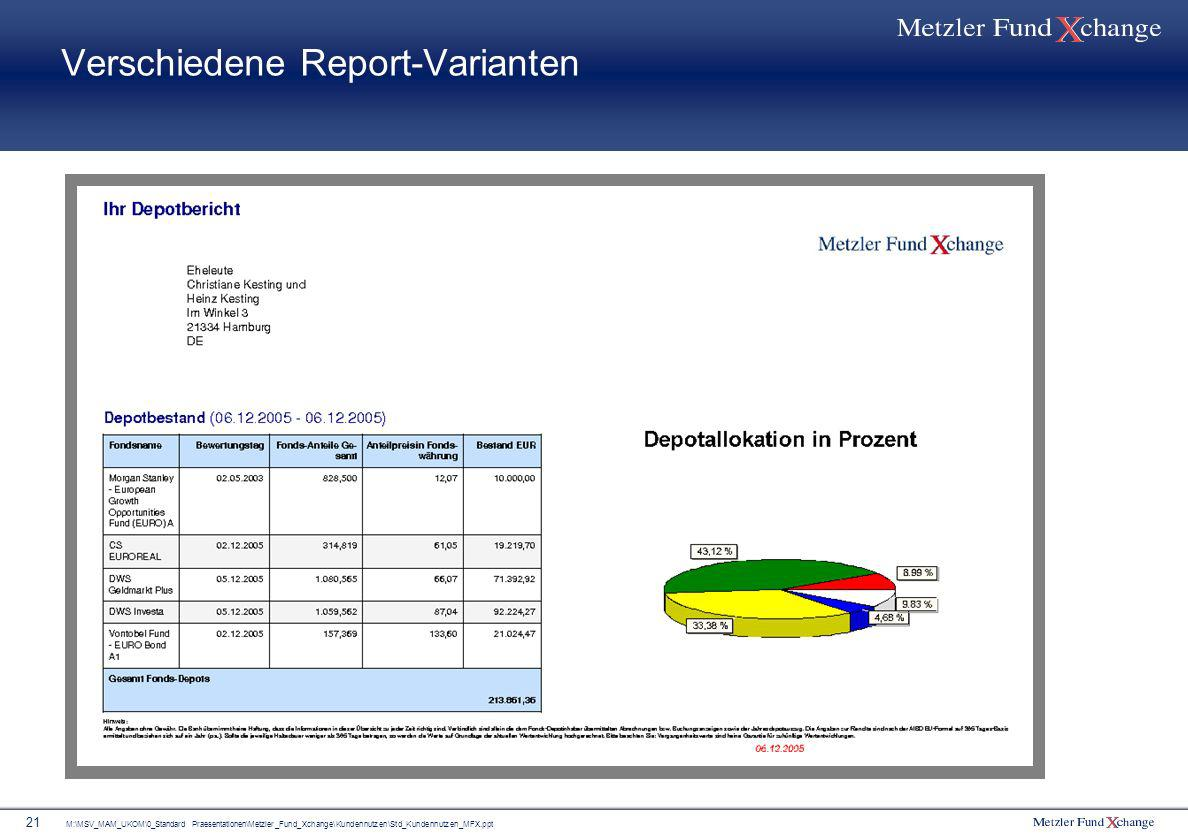 Verschiedene Report-Varianten