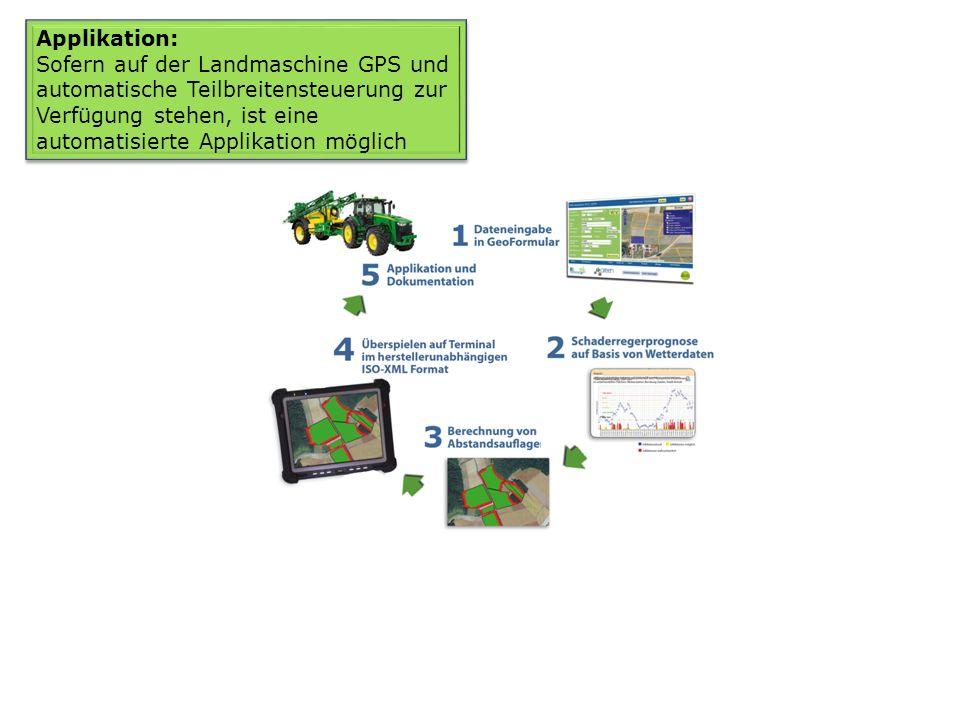 Applikation: Sofern auf der Landmaschine GPS und automatische Teilbreitensteuerung zur Verfügung stehen, ist eine automatisierte Applikation möglich.