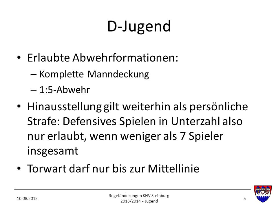 Regeländerungen KHV Steinburg 2013/2014 - Jugend