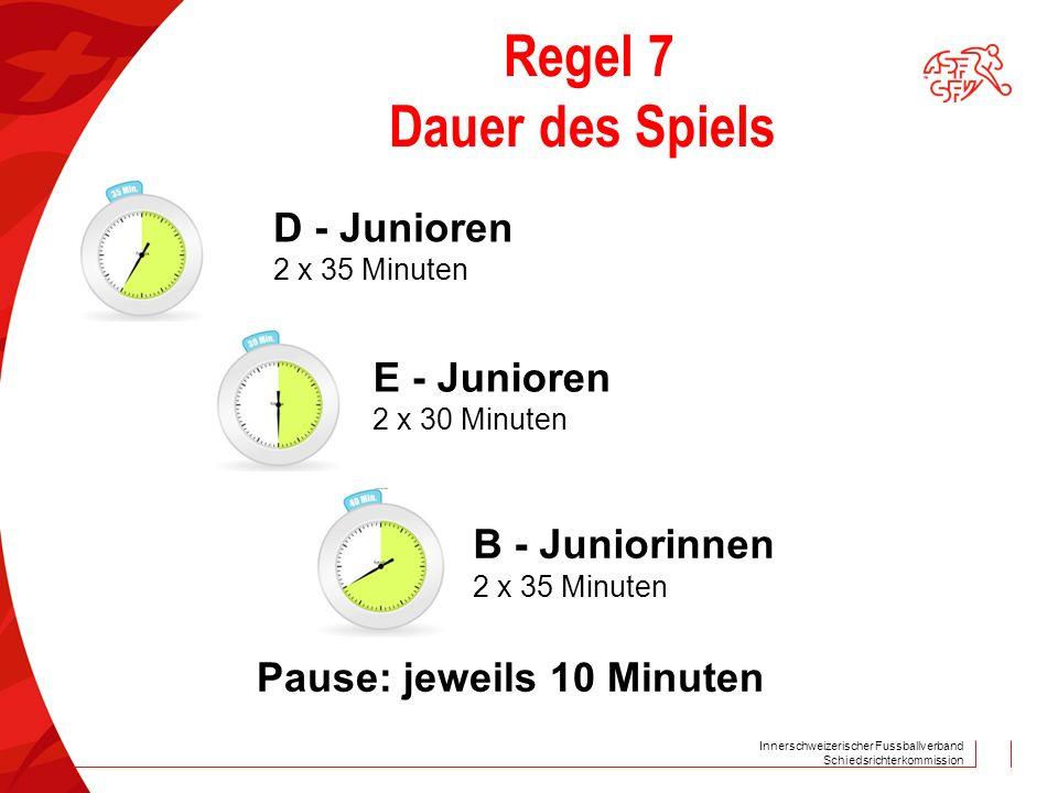 Regel 7 Dauer des Spiels D - Junioren E - Junioren B - Juniorinnen