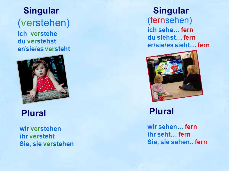 (verstehen) Singular Singular (fernsehen) Plural Plural ich sehe… fern