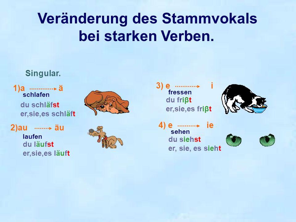 Veränderung des Stammvokals bei starken Verben.