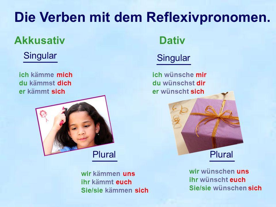 Die Verben mit dem Reflexivpronomen.
