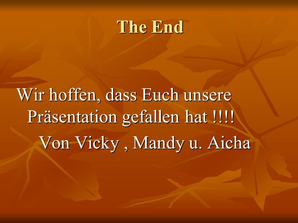 The End Wir hoffen, dass Euch unsere Präsentation gefallen hat !!!! Von Vicky , Mandy u. Aicha